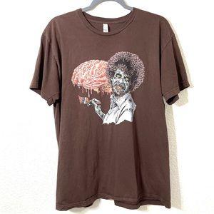 Bob Ross Zombie Graphic Tee Shirt Unisex